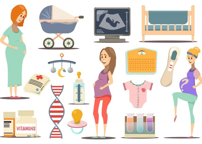 Pregnancy flat icon set with pregnant women attributes for child and health vector illustration